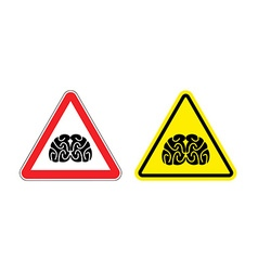Warning sign of attention to think hazard yellow vector