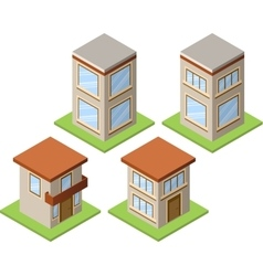 Set of isometric buildings - 01 vector