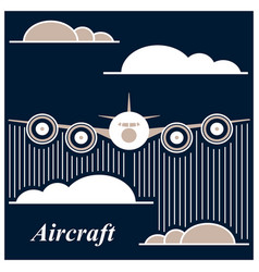 Airplane is flying between the clouds vector