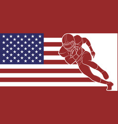 american football running with the ball on flag vector image vector image