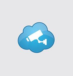 Blue cloud security camera icon vector