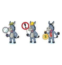 Blue donkey mascot with sign vector