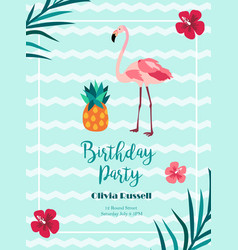 bright birthday invitation in hawaiian style with vector image vector image