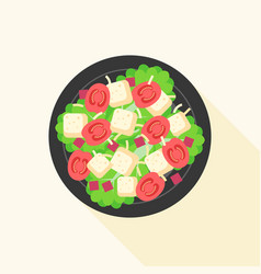 Caesar salad in bowl vector