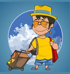 cartoon happy man with a suitcase vector image vector image