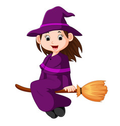 cartoon little witch flying use a broomstick vector image vector image