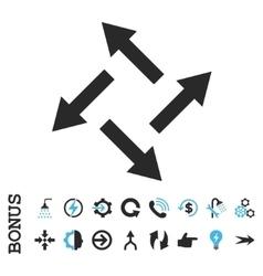 Centrifugal arrows flat icon with bonus vector