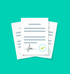 contract documents pile stack vector image vector image