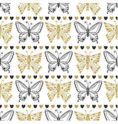 Cute seamless pattern of butterflies black and vector