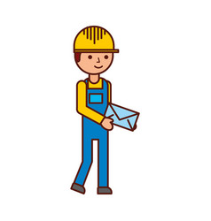 Delivery man standing and holding envelope courier vector
