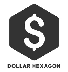 Dollar hexagon icon with caption vector