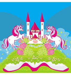 Fairy castle appearing from the book vector