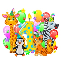 First birthday composition cute animals vector image vector image