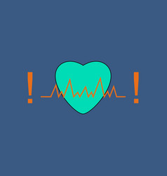 flat icon design collection heart with cardio vector image vector image