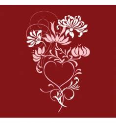 Floral heart design vector