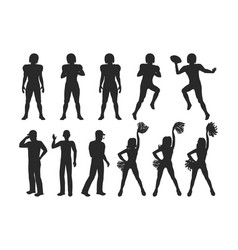 Football players coaches cheerleading girls vector