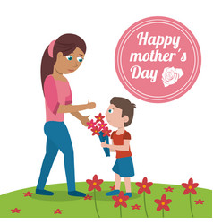 Happy mothers day card - mom with son bouquet vector