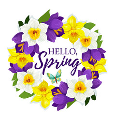 Hello spring daffodil flowers floral poster vector