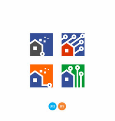 home technology logo vector image