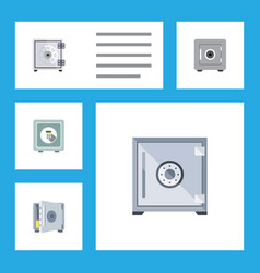 icon flat strongbox set of security safe coins vector image vector image