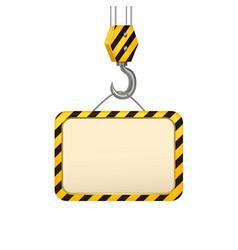 industrial crane hook banner card vector image