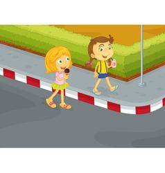 Kids on street vector