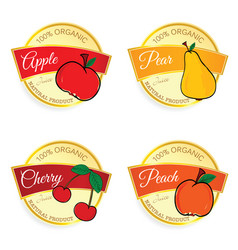 label of fruit natural product set in colorful vector image