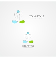 logo with a man in yoga pose vector image