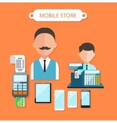 Mobile store concept flat design vector