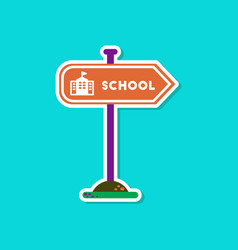 Paper sticker on stylish background school sign vector
