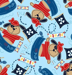 Pirate pup in his boat vector