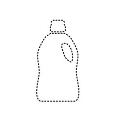 Plastic bottle for cleaning black dashed vector