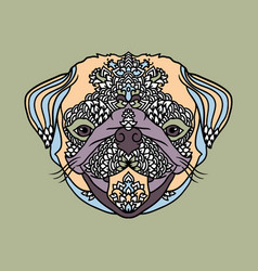 pug with ethnic floral ornaments for adult vector image vector image