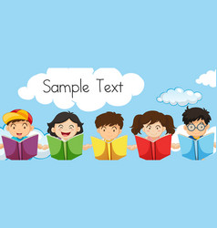 sample text template with kids reading books vector image vector image