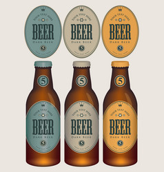 Sample three beer bottles with labels vector