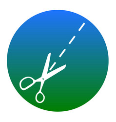 Scissors sign white icon in vector