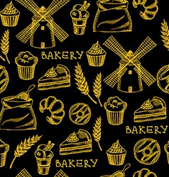 Seamless bakery pattern retro design vector