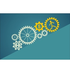 Set of gears with worker symbols inside vector