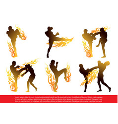Set of thai boxing silhouettes in action vector