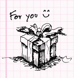 sketch drawing of gift on graph paper vector image