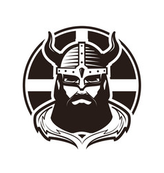 Viking logo or label warrior in armor vector
