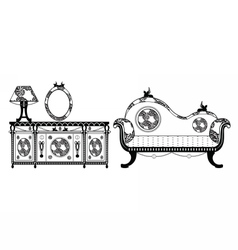 Vintage Classic Style furniture set vector image