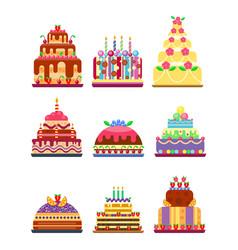 wedding cake pie hand drawn style sweets dessert vector image