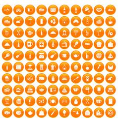 100 restaurant icons set orange vector