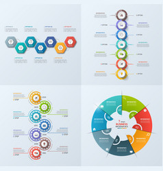 Set of 4 infographic templates with 7 options vector