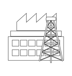 Silhouette with industry and tower oil extraction vector