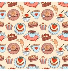 Coffee seamless cartoon pattern vector image