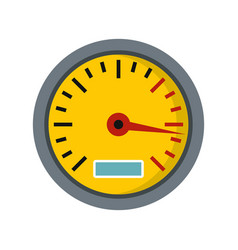 yellow speedometer icon flat style vector image