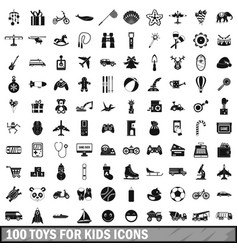 100 toys for kids icons set simple style vector