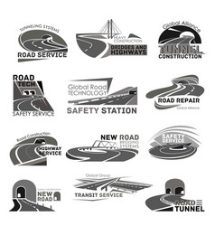 Icons of safety road construction service vector